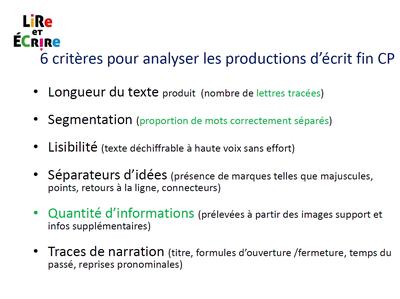 critères d'évaluation textes narratifs CP