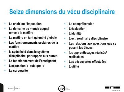 Dimension vécu disciplinaire-Reuter