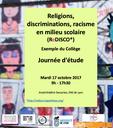 """Journée d'étude """"Religions, discriminations, racisme en milieu scolaire"""" mardi 17 octobre"""